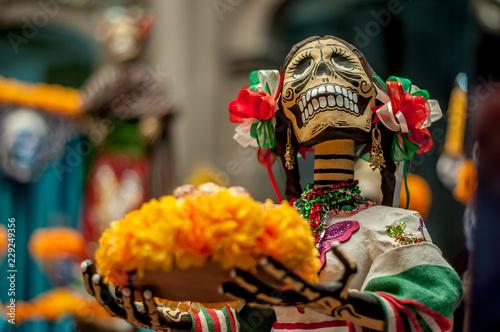 catrina mexicana con moños tricolores y trenzas en una ofrenda y altar del dia d Wallpaper Mural