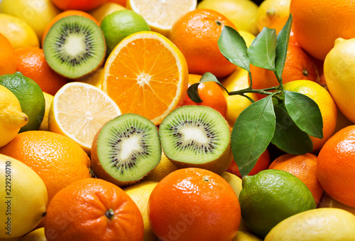 Poster Fruit mix of fresh fruits as background
