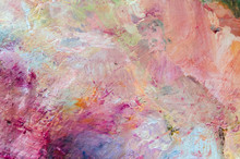 Colorful Abstract Oil Paint Texture On Palette. Multicolored Background. Hand Drawn Oil Painting With Facture.