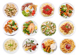 various plates of food isolated on white background, top view