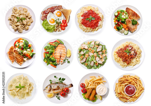 various plates of food isolated on white background, top view - 229252531