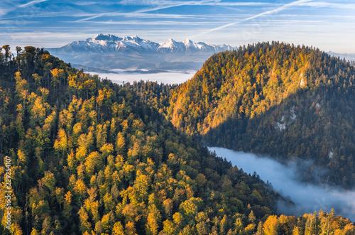 piekna-poranna-panorama-wawozu-dunajca-i-tatr-kolorowa-jesien