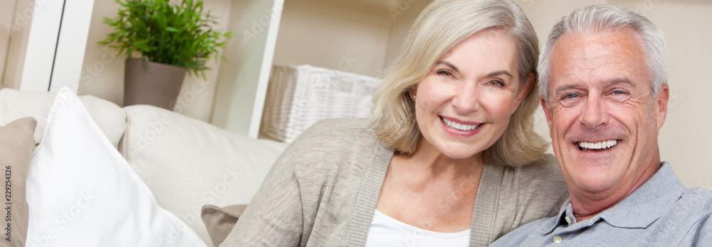 Fototapety, obrazy: Panorama Web Banner Happy Senior Man & Woman Couple