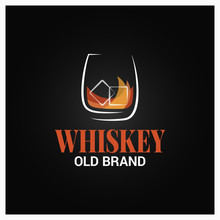 Whiskey Glass With Ice Logo. Brand Of Whisky Design On Black Background