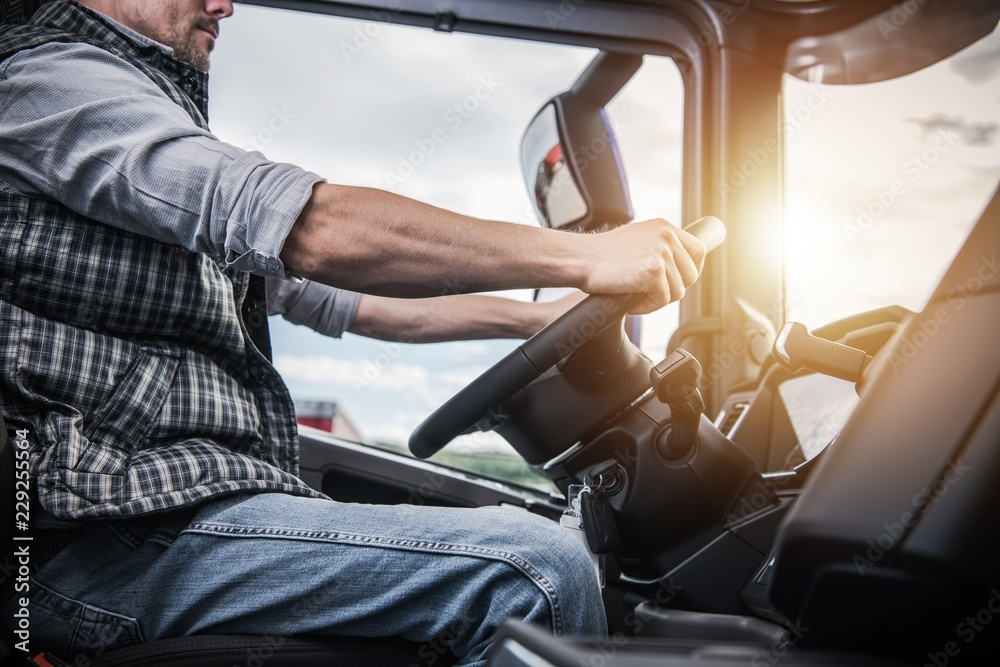 Fototapety, obrazy: Truck Driver Behind the Wheel