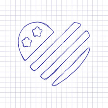 Simple USA Flag Icon. Heart Shape. Hand Drawn Picture On Paper Sheet. Blue Ink, Outline Sketch Style. Doodle On Checkered Background