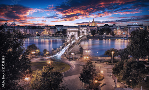 Canvas Prints Cappuccino Beautiful sunset over the capital city of Hungary, Budapest. Aerial view with the Danube river, Chain Bridge and the Parliament building