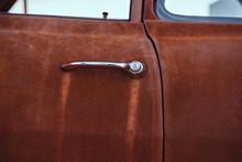 Close-up Photo Of A Restored Retro Car Door.
