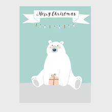 Cute Merry Christmas Greeting Card, Invitation With Polar Bear Holding Gift Box. Ribbon Banner With Christmas Lights Chain Decoration. Hand Drawn Kids Nordic Design. Vector Illustration Background.