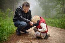 Little Boy And His Father Looking On Big Snail During Hike In Forest.