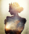 canvas print picture - Girl with tree in hair. Double exposure