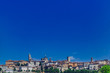 Skyline of Bergamo, Italy under blue sky
