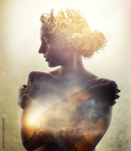 Girl with tree in hair. Double exposure