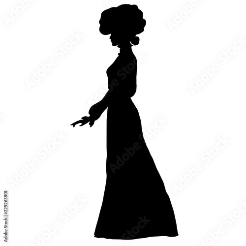 Photo Female slim silhouette in long dress, large round hat of early 20th century, frill, combed hair, top knot