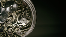 Antique Mechanical Pocket Watch, Winter Time And Summer Time Concept, Selective Focus.