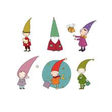 Set Of Cute Cartoon Gnomes. Ve...