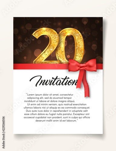 Template of invitation card to the day of the twentieth anniversary with abstract text vector illustration. To 20 th years eve card invite.
