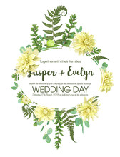 Wedding Invitations, Postcards, Posters, Save Date. Watercolor Vector Oval Frame With Flowers Of Yellow Dahlia, Fern Leaves, Branch Of Boxwood And Eucalyptus Is Isolated On White
