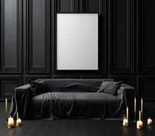 Mock-up Poster Frame In Dark Classic Interior Background, Modern Style,3d Render