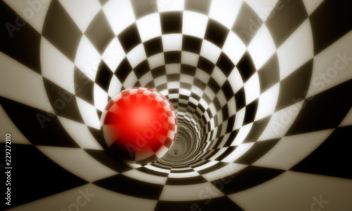 Illusion of freedom (predeterminmation). Red ball in a chess tunnel (concept image). The space and time. 3D illustration.