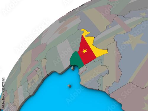 Staande foto Kasteel Cameroon with national flag on 3D globe.
