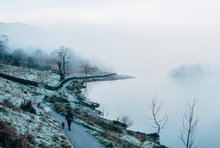 Footpath Beside A Foggy Lake. Rydal Water, Cumbria, UK.