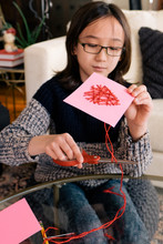 Young Boy Makes Valentine's Day Card