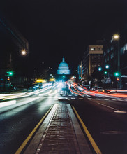 Vertical View Of North Capitol Street In Downtown Washington D.C. With Traffic