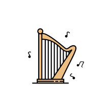 Harp Icon. Element Of Color Ancient Greece  Icon For Mobile Concept And Web Apps. Colored Harp Icon Can Be Used For Web And Mobile