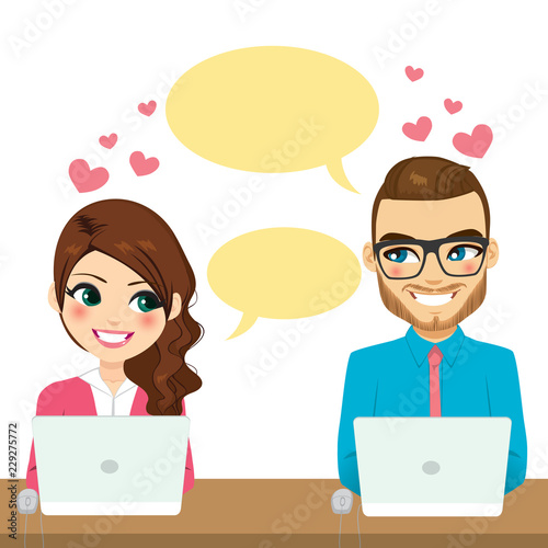 Obraz na plátně  Couple flirting while working with laptop over desk