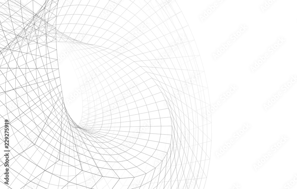 abstract architectural structure 3d illustration
