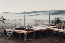 Steaming Hot Tub On Misty Morning
