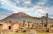 canvas print picture - Vesuvius and Pompeii