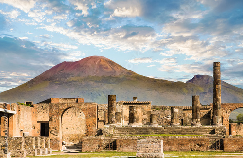 Deurstickers Napels Vesuvius and Pompeii