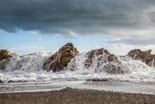 Waves Crushing On The Rocks
