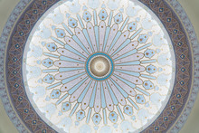 Looking Up At The Ceiling Of A Dome In A Traditional Islamic Building