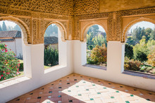 Moorish Room Inside Of Generalife In The Alhambra, Granada.