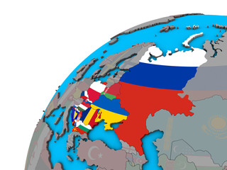 Eastern Europe with national flags on 3D globe.
