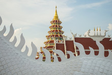 The Beautiful Chinese Pagoda Of Wat Huay Pla Kung Temple In Chiang Rai Province Of Thailand.