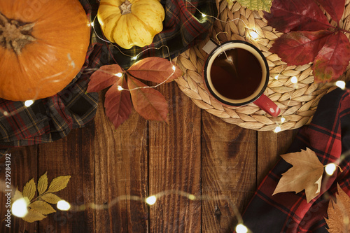 Aluminium Prints Autumn Hot cup of tea and pumpkins