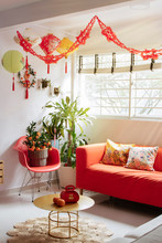 Living Room Decorated For Lunar New Year