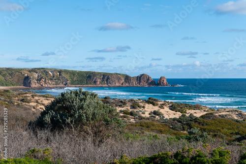 Woolamai Beach view with blue sky. Phillip Island, Victoria, Australia.