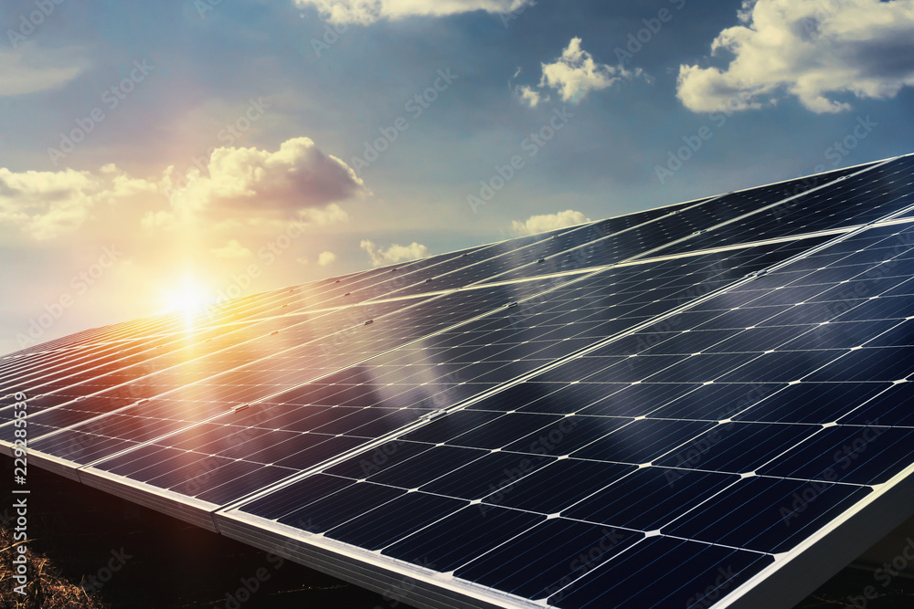 Fototapety, obrazy: solar panel with sunlight and blue sky background. concept clean energy power in nature