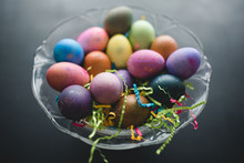 Colorful Easter Eggs On A Blac...