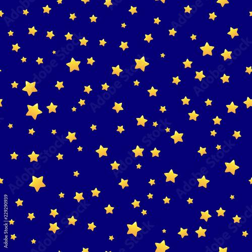 Gold Stars On Blue Background Seamless Pattern Stars Background