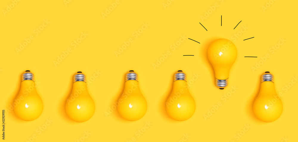 Fototapety, obrazy: One outstanding idea concept with yellow light bulbs