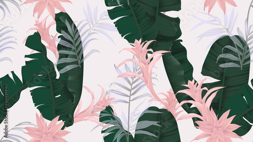 Floral seamless pattern, green banana leaves, pink Bromeliaceae plant and palm leaves on light gray background, pastel vintage theme