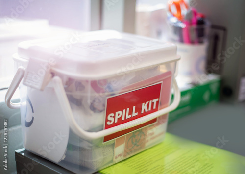 Fotografija  Emergency spill kit wall signs in box for use in Laboratory in Thailand