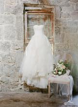 Hanging Wedding Gown & Brides Details