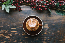 Christmas Coffee On Rustic Woo...